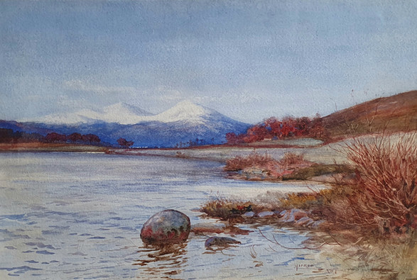 Scottish Loch and Mountain in Winter - Sir Alfred East (1844 - 1913)