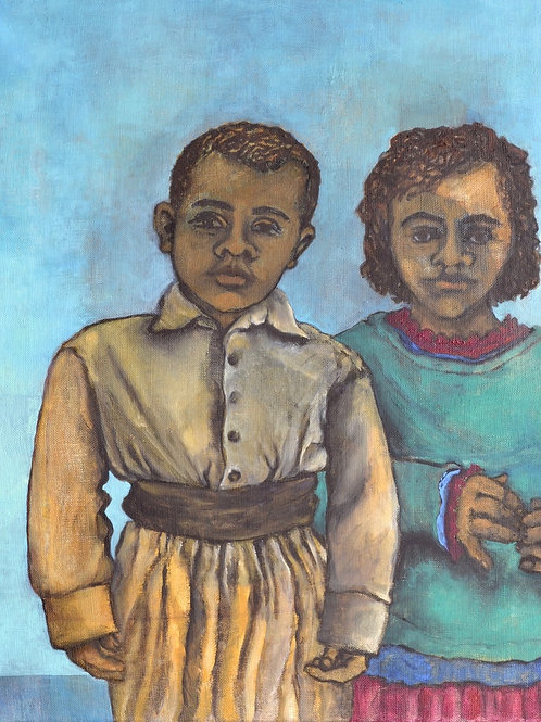 Two Children by Sula Rubens A.R.W.S.