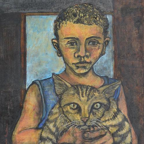 Fadi holding his Cat Aleppo by Sula Rubens A.R.W.S.