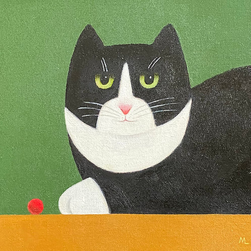 Black & White Cat with Red Ball by Martin Leman