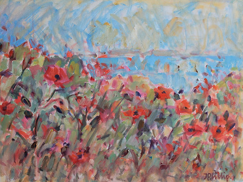Wild Poppies by the Shore by Jackie Philip