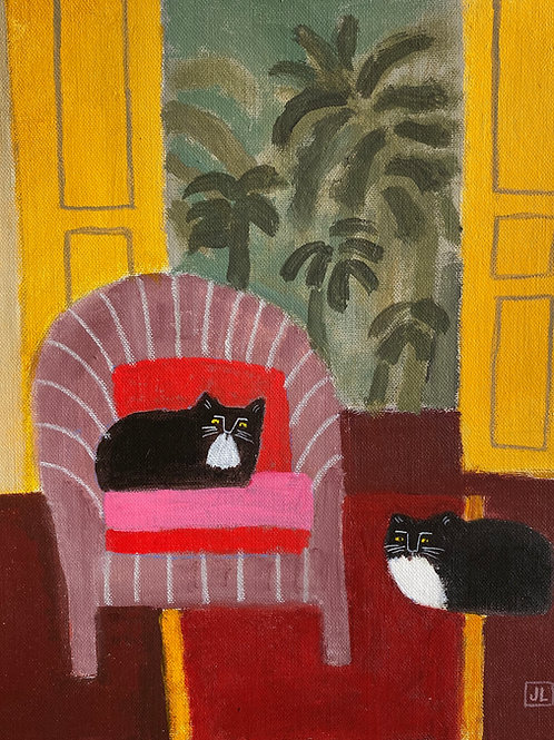 Interior with Cats by Jill Leman