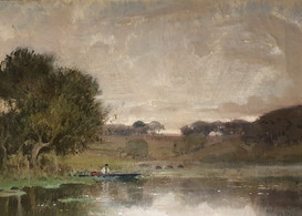 A Boat on a Pond - Sir Alfred East (1844 - 1913)