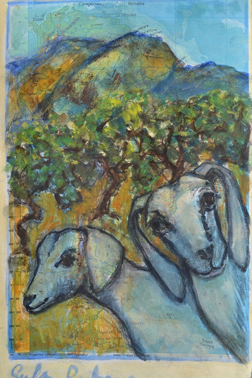 Two Goats in a Mountain Landscape Study by Sula Rubens A.R.W.S.