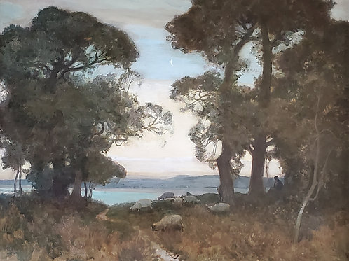 The Morning Moon by Sir Alfred East (1844 - 1913)