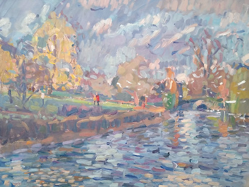 Autumn by the duck pond by Andrew Farmer