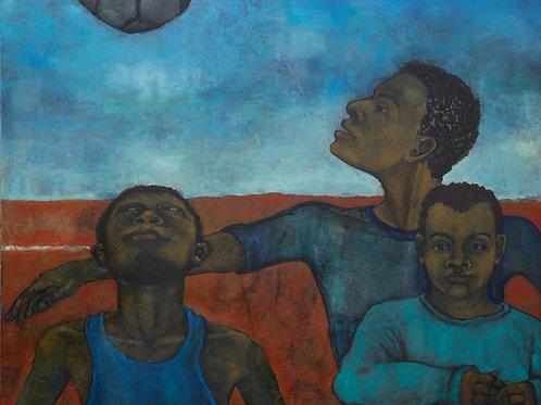 Three Boys with Football by Sula Rubens A.R.W.S.