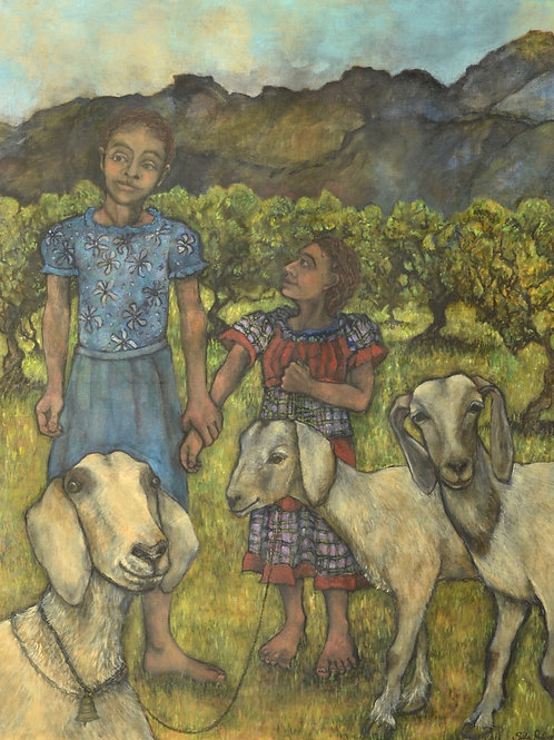 Kin - Two Girls and Three Goats by Sula Rubens A.R.W.S.