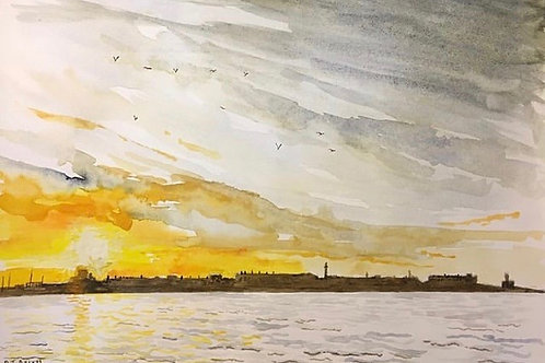 Sunset over Fleetwood by David J Ansell