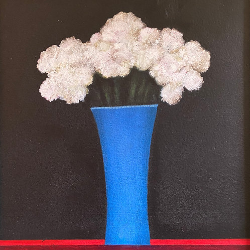 White Flowers in a Blue Vase by Martin Leman
