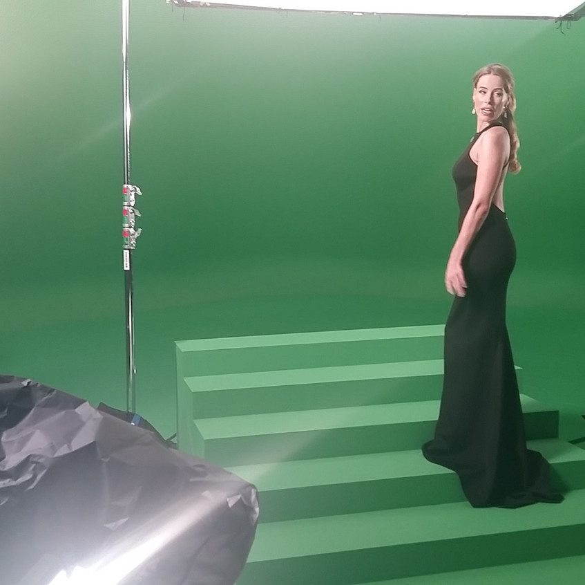Shooting on green screen, including stairs, allowed the background to be added in Flame