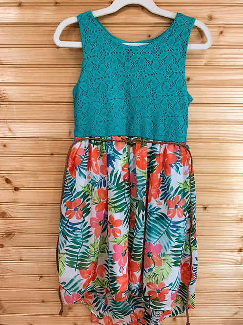 Size 7/8 YOUNGLAND Teal Lace Dress with Tropical Flowers, Used