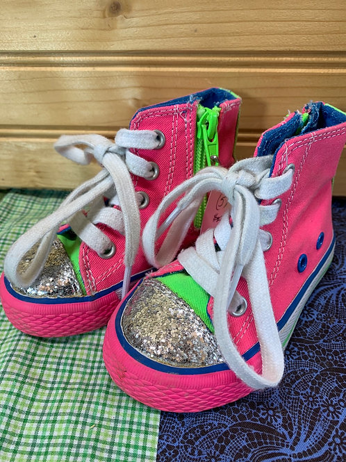 Size 5 Toddler Pink and Green Glitter Hightop Sneakers
