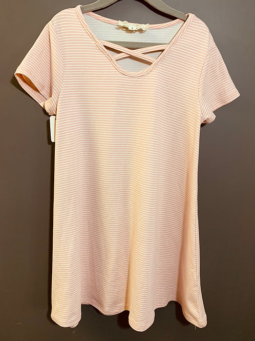 Size 8 Youth BETWEEN Peachy Pink Striped Dress