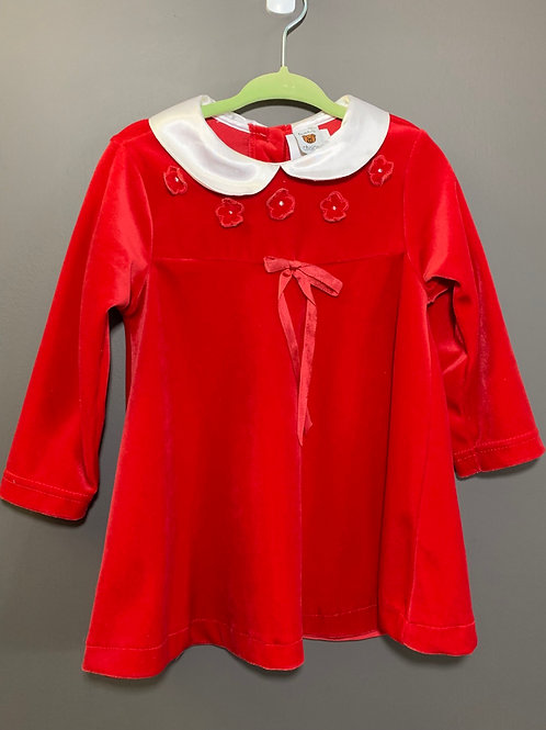 Size 18m TEDDY'S CHOICE Red Velvety Christmas Dress