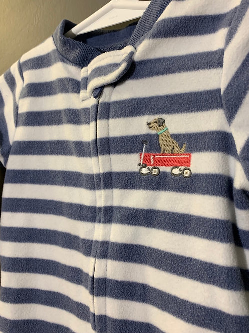 Size 9m CARTER'S Striped Fleece Footie Pajama with Dog