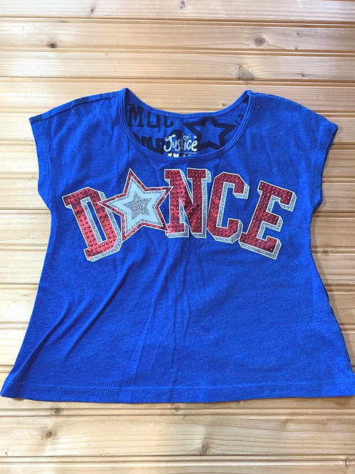 Size 6 JUSTICE Blue Sparkle Dance Cropped Shirt, Used