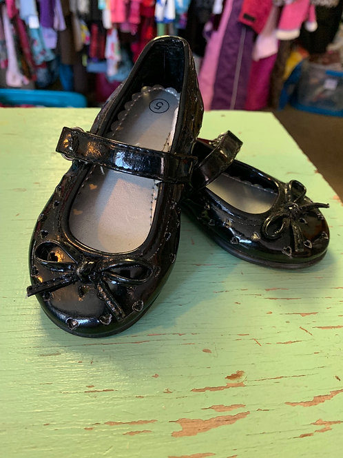 5 Toddler - Black Patent Shoes with Heart Holes