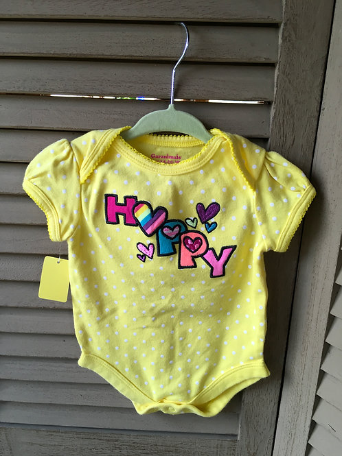 Size 0-3m GARANIMALS Happy Rainbow Yellow Onesie