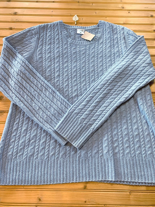 Size XL Maternity Baby Blue Cable Knit Sweater