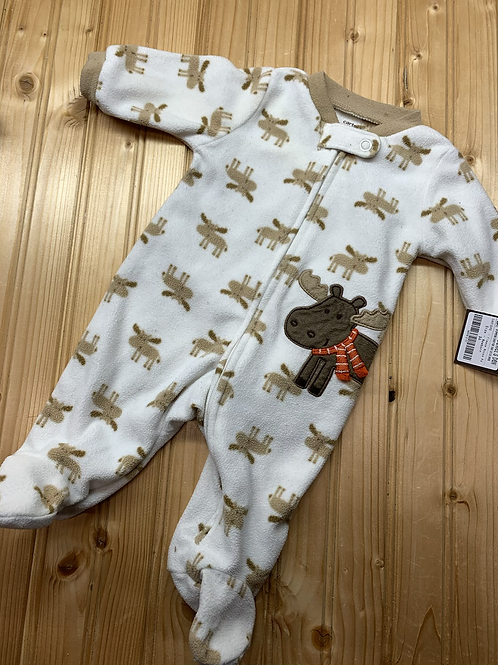 Size NB CARTER'S Fleece Moose Footie PJ
