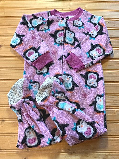 Size 18m JOE BOXER Purple Penguin Fleece Footie PJ, Used