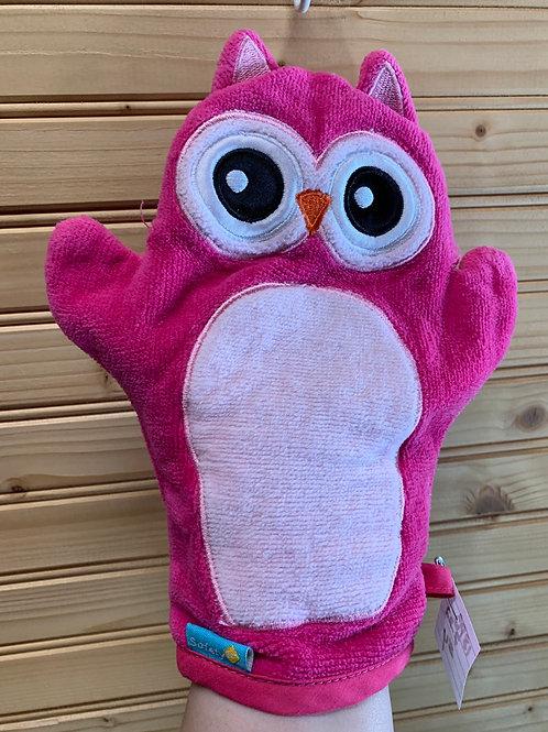 SAFETY FIRST Pink Owl Bath Mitt, Used