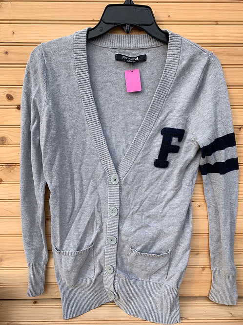 Size S TEENS FOREVER 21 Grey Letter Cardigan