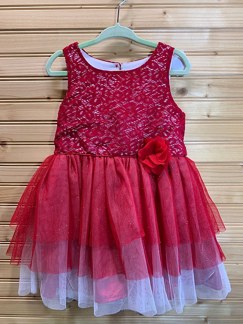 Size 3T NANNETTE Red Party Dress, Used