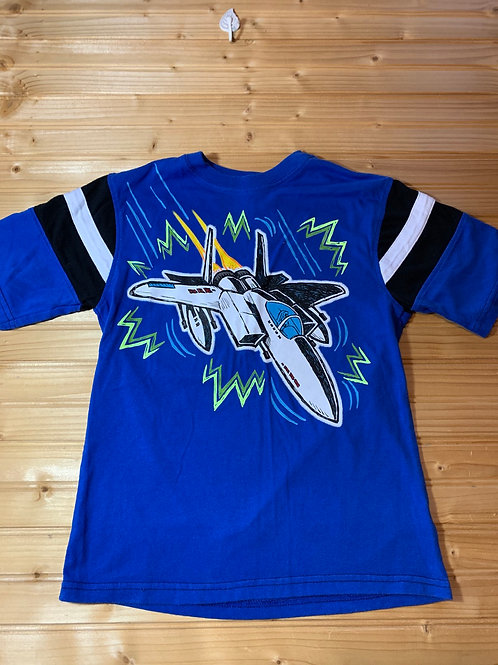 Size 8 Kids FADED GLORY Blue Fighter Jet Shirt, Used