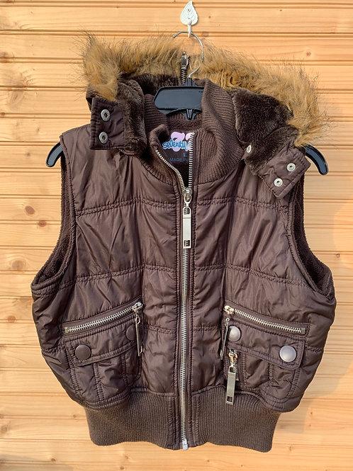 Size L SEVENTY SEVEN - Brown Faux Fur Hoodie Vest (10-12 Kids)