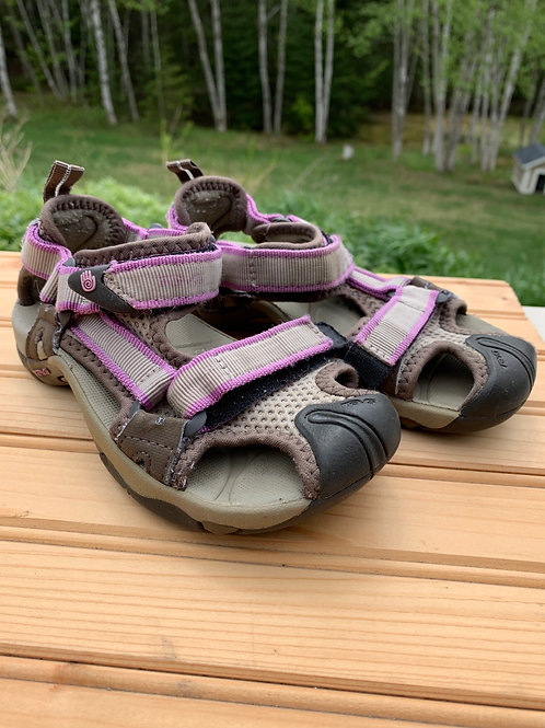 Size 12 kids Tan and Purple Sandals