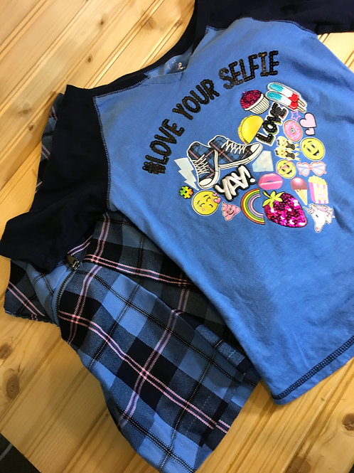 Size 8 Girls JUSTICE Love Your Selfie Blue Skirt Outfit