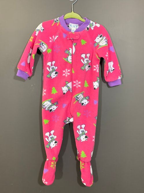 Size 12m CHILDREN'S PLACE Pink Fleece PJ with Polar Bears, Used