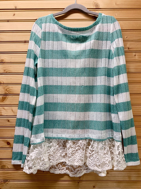 Size S OH MG! Teal and White Lace Backwards Shirt, Used