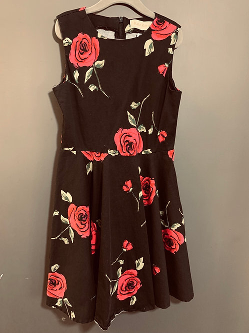 Size 8(?) Girls KATE CASIN Black Dress with Red Roses