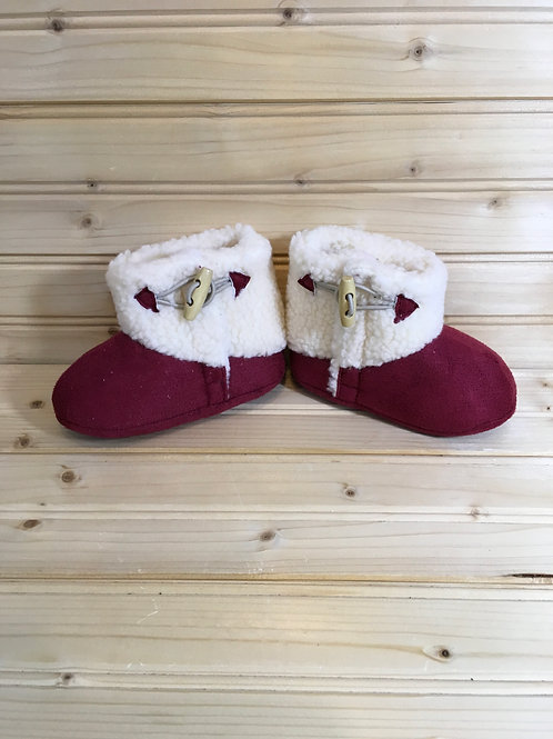 Size 3 Baby Red and White Booties