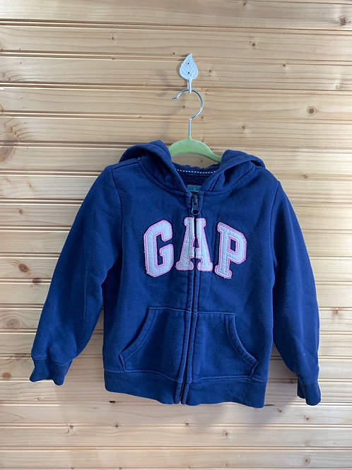 Size 3T BABY GAP Navy Pink and Silver Logo Hoodie