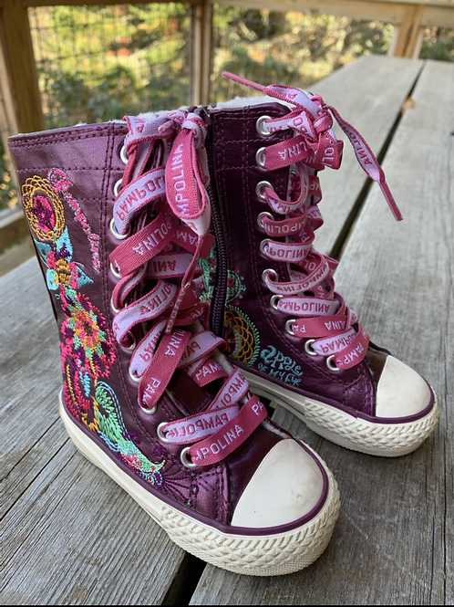 Size 22 (6Toddler) AMPOLINA Purple Embroidered High Tops