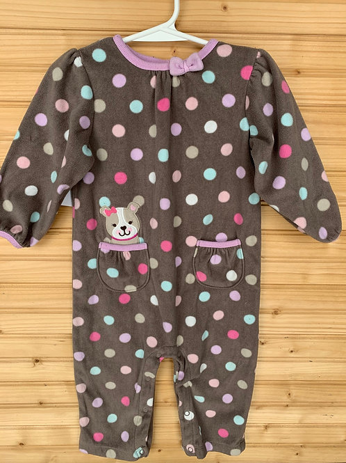 Size 18m CHILD OF MINE Brown Puppy Polkadot Fleece PJ, Used