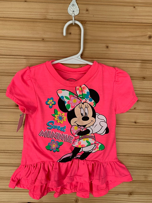 Size 18m Disney Sweet Minnie Mouse Hot Pink Top, Used