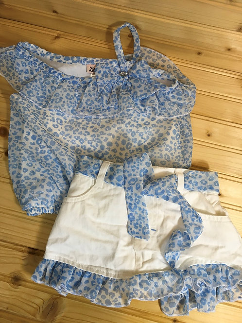 Size 18m LITTLE LASS Flowy Blue Leopard Shirt and Short Set