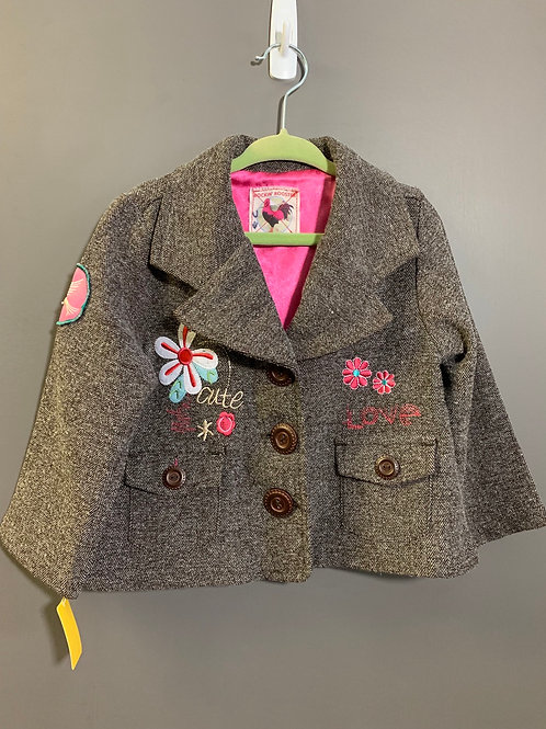 Size 2T ROCKIN ROOSTER Peace and Love Herringbone Coat