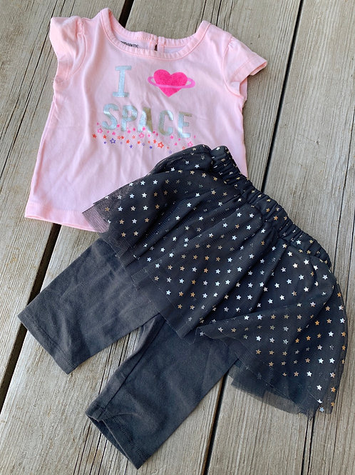 Size 12m Love Space 2pc Glitter Outfit