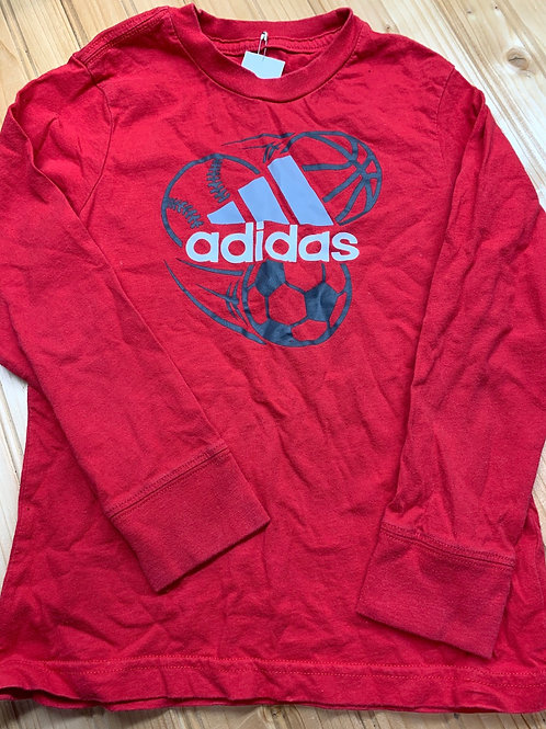 Size 4T ADIDAS Red Longsleeve Soccer Ball Tee, used