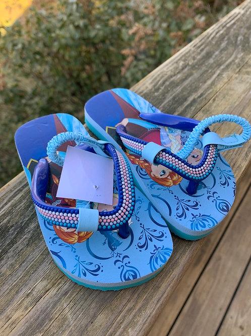 Size 5/6 Toddler Frozen's Elsa and Anna Flip Flops