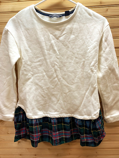 Size 10/12 LANDS' END Cream and Plaid Sweatshirt