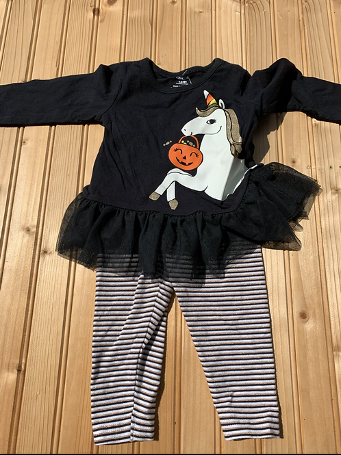 Size 12m CARTER'S Gold Halloween Unicorn 2pc Outfit, Used