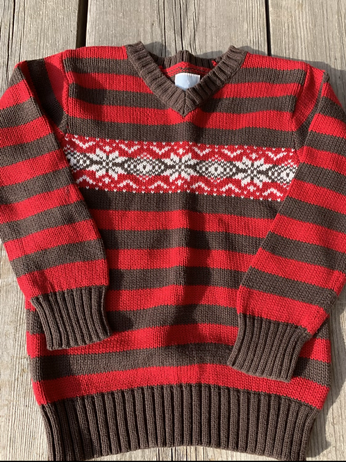 Size 5T OLD NAVY Brown and Red Knit Sweater
