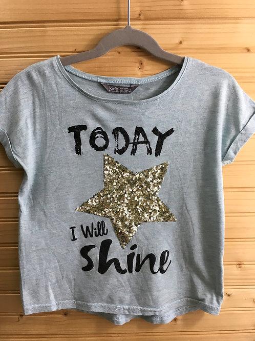 Size 7/8 Girls LINDEX Today I Will Shine - Star Shirt